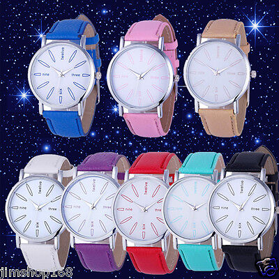 Fashion Women's Watch Stainless Steel Leather Band Quartz Analog Wrist Watches