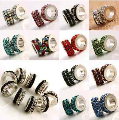 50x 8mm Color Crystal Brass Rhinestone Rondelle Bead Spacer Wholesale Lot