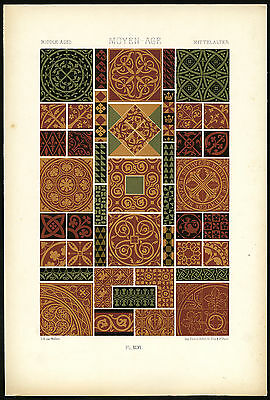 Antique Print-DESIGN-ORNAMENT-MIDDLE AGES-MEDIEVAL-XLVI-Racinet-ca. 1870