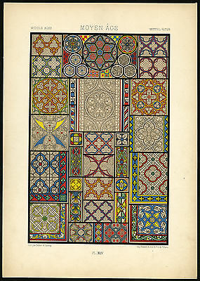 Antique Print-DESIGN-ORNAMENT-MIDDLE AGES-MEDIEVAL-XLV-Racinet-ca. 1870