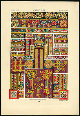 Antique Print-DESIGN-ORNAMENT-MIDDLE AGES-005-MEDIEVAL-Racinet-ca. 1870