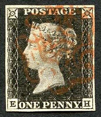 Penny Black (EH) Plate 1a Very Fine Four Margins