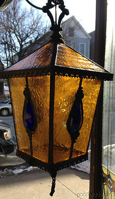 Cobalt Blue & Amber Stained Glass Pendant Lamp Hall Porch Light Fixture Jewels