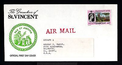 9340-ST.VINCENT-AIRMAIL FIRST DAY COVER KINGSTOWN to WILMETTE(usa)1978.BRITISH.