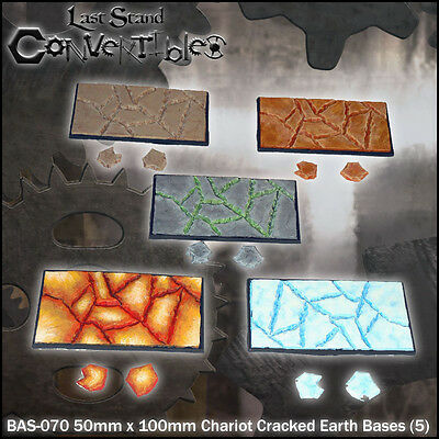 LAST STAND CONVERTIBLES BITS CRACKED EARTH BASES - 5x 50mm x 100mm CHARIOT