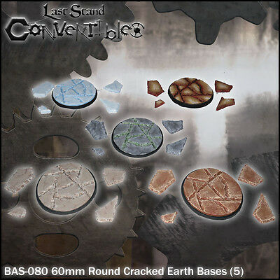 LAST STAND CONVERTIBLES BITS CRACKED EARTH BASES - 5x 60mm ROUND