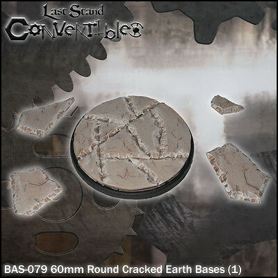 LAST STAND CONVERTIBLES BITS CRACKED EARTH BASES - 1x 60mm ROUND