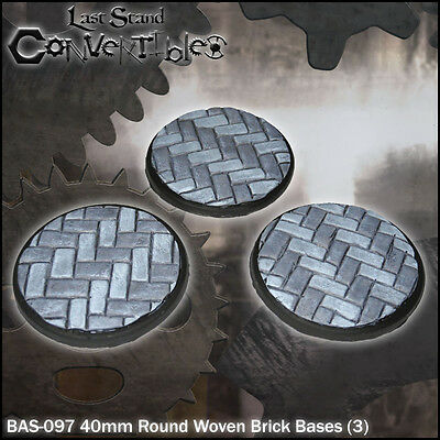 LAST STAND CONVERTIBLES BITS WOVEN BRICK BASES - 3x 40mm ROUND