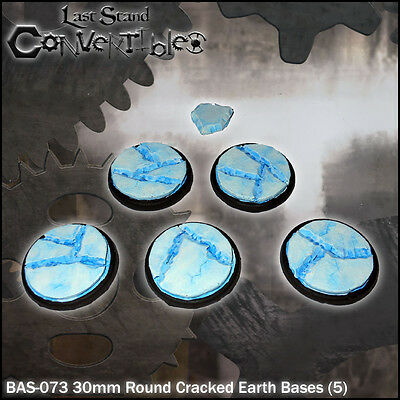 LAST STAND CONVERTIBLES BITS CRACKED EARTH BASES - 5x 30mm ROUND