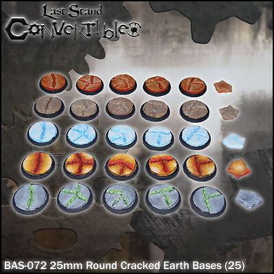 LAST STAND CONVERTIBLES BITS CRACKED EARTH BASES - 25x 25mm ROUND