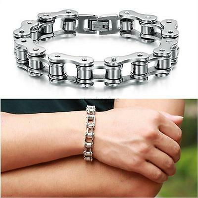 "7"" 7.8"" 8.7""Fashion Stainless Steel Bangle Motorcycle Bike Chain Design Bracelet"