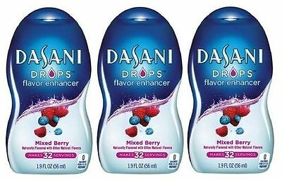 Dasani Drops Mixed Berry Flavor Enhancer Liquid Drink Mix 3 Bottle Pack