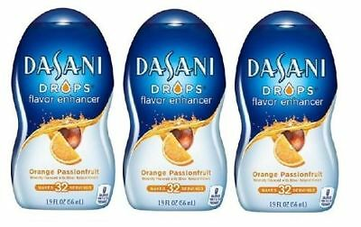 Dasani Drops Orange Passionfruit Flavor Enhancer Liquid Drink Mix 3 Bottle Pack