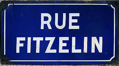 Old French enamel steel street sign road plaque plate Rue Fitzelin Epinay, Paris