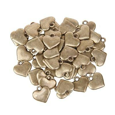 50x Antique Bronze Heart Pendant Pattern Charms DIY Jewelry Findings
