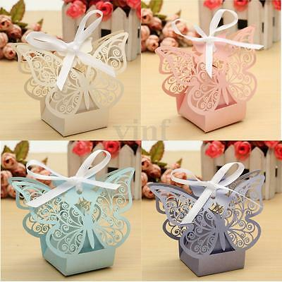 10/20/50/100X Butterfly Laser Cut Candy Boxes Party Gift Wedding Favor Case