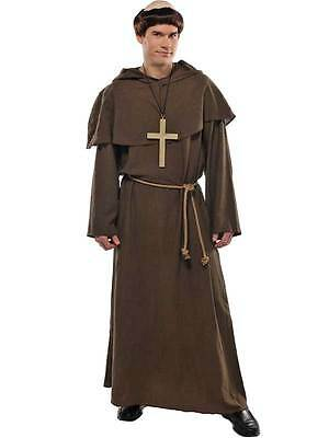 Adult Friar Tuck Costume Mens Monk Fancy Dress Outfit + Wig Religious Outfit New