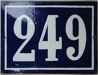 Large old blue French house number 249 door gate plate plaque enamel metal sign