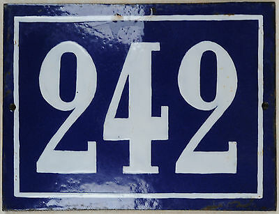 Large old blue French house number 242 door gate plate plaque enamel metal sign
