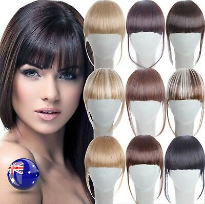 Lady Girl Party Natural Clip on Bang Front Fringe only Hair extension Wigs Piece