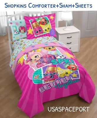 4pc SHOPKINS Toys Twin-Single COMFORTER+SHEETS SET Bed in a Bag Room Decor Girls