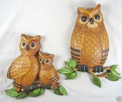 2 Owl Wall Plaques Set Art Decor DART HOMCO Made in USA  Vintage 1975