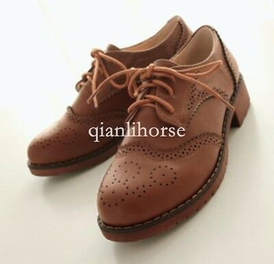 Girls Womens Oxford Brogues British Retro College Lace Up Low Heel Wingtip Shoes
