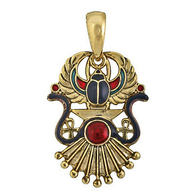 Winged Scarab God Ra Gold Cleopatra Cosplay Costume Egyptian Necklace Pendant