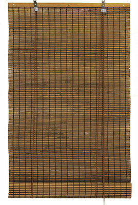 """4' x 6' 48"""" x 72"""" Bamboo Espresso Brown Black Roll Up Window Blinds Shade"""
