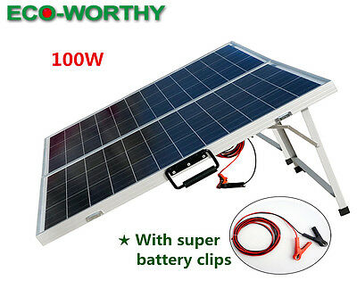 100W 12V Portable Folding Poly Solar Panel RV Boat Battery Charge Complete Kit