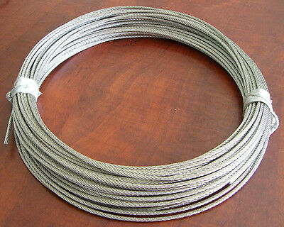"1/8"" X 100 Feet 7 X 7 Stainless 202 Cable Wire Rope"