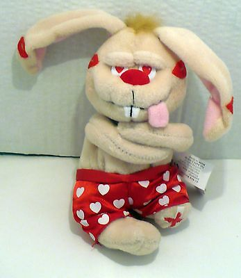 1999 Valentines Meanies Got Lucky Rabbit Plush Beanie Nwt 6""
