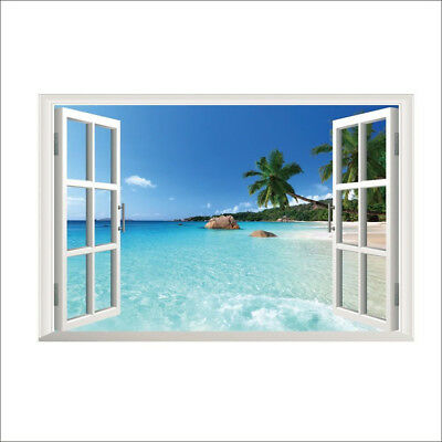 Beach Resort 3D Window View Removable Wall Sticker Art PVC Decal Decor Mural G#