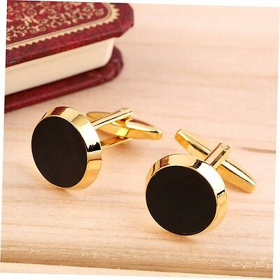Gold&Black Color Round Mens Wedding Party Gift Shirt Cuff Links Cufflinks G#