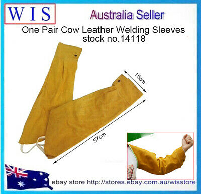 One Pair Cow Leather Welding Sleeves w Elastic Cuff,Welder's Leather Sleeve14118