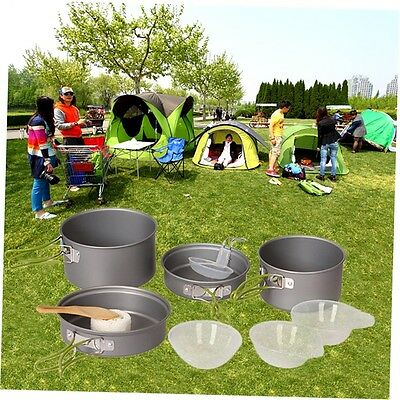 9pcs Outdoor Camping Cookware Cooking Picnic Bowl Pot Pan Set Portable G#