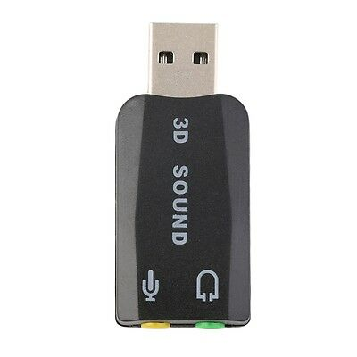 USB 2.0 to 3D Mic Speaker Audio Headset Sound Card Adapter 5.1 for PC Laptop G#