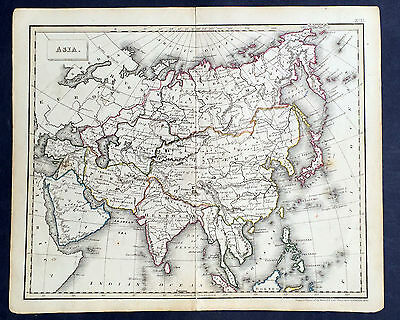 1830 Russell Antique Map of Asia - From Russia to Borneo
