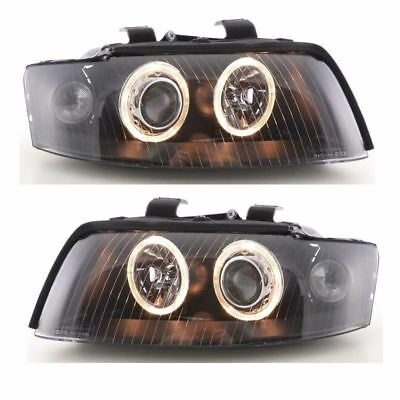 Audi A4 Mk2 Excluding Cabriolet 2001-2004 Black Angel Eyes Headlights Pair
