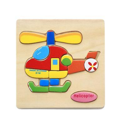 Wooden Cartoon Helicopter Baby Kids Education Learning Puzzle Jigsaw Toy