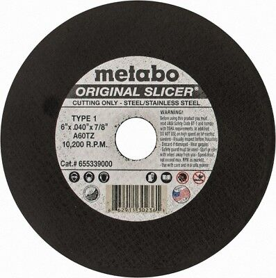 "Metabo 655339000 Slicer Cut Off Wheel 6"" X .040"" X 7/8"", Box of 50"