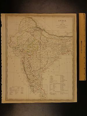 1844 BEAUTIFUL Huge Color MAP of INDIA Ceylon Ganges Bengal Hindustan ATLAS
