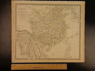 1844 BEAUTIFUL Huge Color MAP of CHINA Taiwan Siam Korea Vietnam Burma ATLAS
