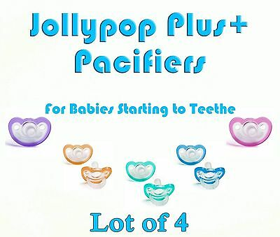 (4) JollyPop Pacifier Plus+ Pick Your Color 3+ mo Baby Soothie Gumdrop Silicone