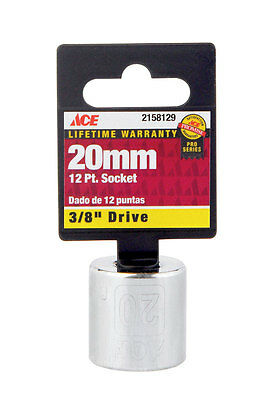 """NEW! ACE Metric Socket- 20mm, 3/8"""" Drive, 12-Point 2158129"""