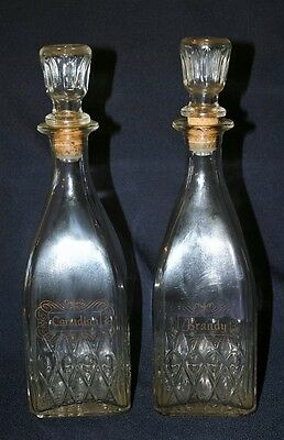 Pair of Vintage Glass Decanters Canadian Brandy
