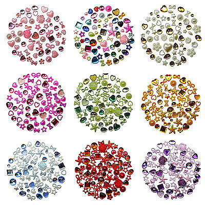 50pcs Flatback PEARL & GEM Embellishments Scrapbooking Hearts Wedding Craft  DIY