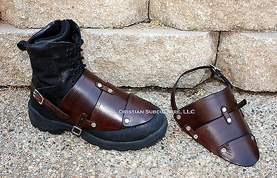 Leather Boot Covers foot feet SCA LARP armour ren Sabatons Renaissance knight