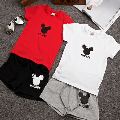 Fashion Mickey Mouse Baby Kids Boys Clothes T-shirt Tops + Pants Summer Outfits
