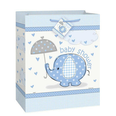 Blue Boy's ELEPHANT Baby Shower Party Large Paper Gift Bag 12.5 inch